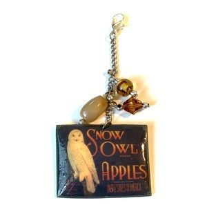White owl vintage crate label Purse Zip Charm